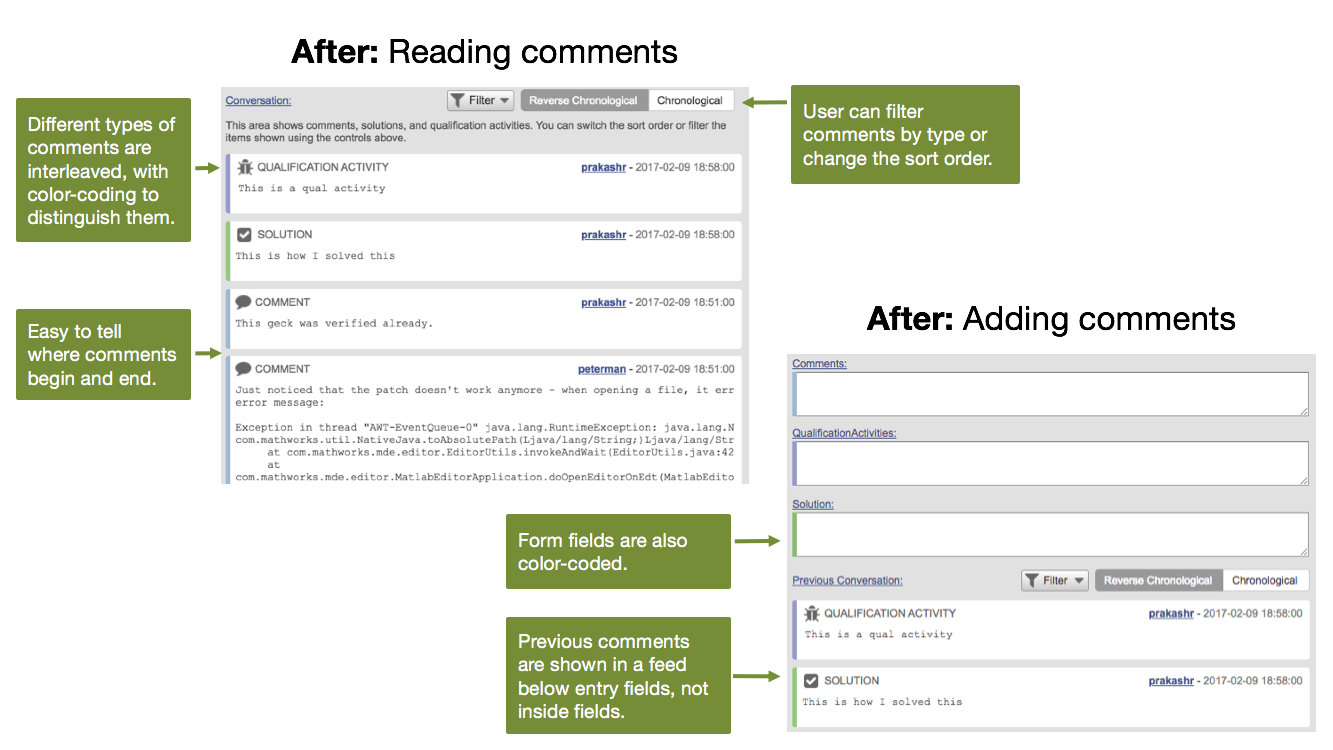 Mockup of final comments UI